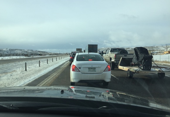 Westbound I-80 traffic at a standstill about 30 miles east of Wamsutter on Tuesday, December 22nd, 2015. (Photo: Chris James)